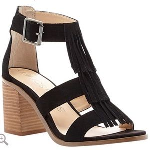 NEW sole society Delilah black fringe sandals